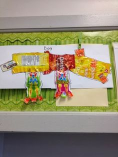 Halloween candy wrapper art - grade 3 - creative use of materials