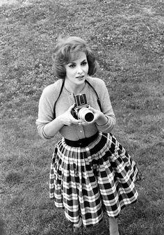 Gina Lollobrigida with a Hasselblad camera