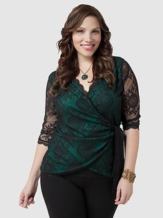 at Gwynnie Bee black lace with green underlay top-------        *Hi Plus Size fellow pinners :) check out my new plus size board :)*