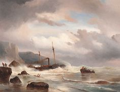 Louis Meijer~(Amsterdam 1809 - Utrecht 1866)  The salvage of the steamboat  Monogrammed l.l.