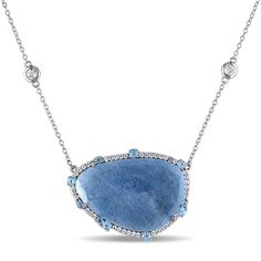 Miadora Sterling Silver 18 3/4ct TGW Blue Quartz and Topaz Necklace | Overstock.com Shopping - The Best Deals on Gemstone Necklaces