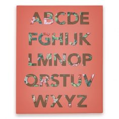 Alphabet Canvas Print (Orange) #alphabet #letters #design #floral #trendy #canvas #print