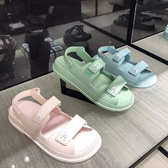 Chanel 'Grandad' rubber sandals in pastel pink, green & blue colors by PSL. What's App us to order Chanel 54 492 3614 📲 Fancy Shoes, Pretty Shoes, Crazy Shoes, Cute Shoes, Me Too Shoes, Sneakers Fashion, Fashion Shoes, Shoes Sneakers, Shoes Heels