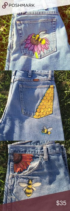 Hand painted Blue Denim Jeans - Bee Flowers Hand painted Rustler Jeans with flower and Bees. The two back pockets have a Bee and Honey Comb painted. Painted Denim Jacket, Painted Jeans, Painted Clothes, Hand Painted, Diy Jeans, Blue Denim Jeans, Plaid Pants, Cargo Pants, Diy Clothing