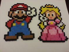 Mario & Princess Peach // Peace Sign // Bead by DCBPerlerSprites, $10.00