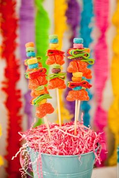 Candy skewers at a Summer Sno Cone Party #snocone #candyskewers