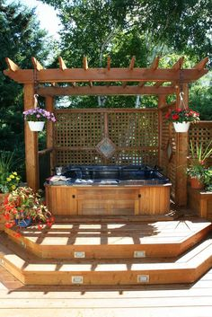 hot tub ideas hot tubs design hot tub deck design best backyard hot tubs ideas on hot tub patio hot tub ideas for deck ++steps + privacy + pergola Hot Tub Pergola, Hot Tub Deck, Hot Tub Backyard, Wood Pergola, Backyard Privacy, Backyard Patio, Hot Tub Patio On A Budget, Small Patio, Small Yards