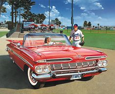 First Mike's car, then David's...'59 Chevy Impala Convertible, fire-engine red, glass-packs and 3 deuces...said they paid for 1 wing of the Texas Highway Dept!!