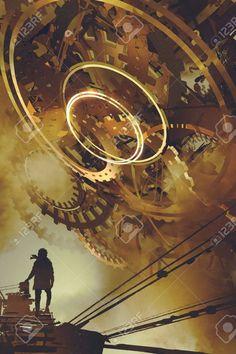 steampunk scenery of man standing against many big golden gears, digital art style, illustration painting Steampunk Kunst, Steampunk Artwork, Gear Art, Environment Concept Art, Environmental Art, Dieselpunk, Anime Manga, Canvas Wall Art, Illustration