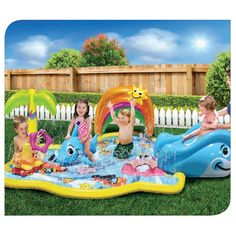 Playmat with water-sprayer. Rainbow canopy offers protection from the sun. Features a starfish stacker, removable whale slide & dolphin rider activities. Banzai has the BEST SUMMER Backyard Toys for you to play and get SOAKED! #FunYourself!