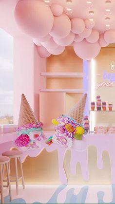 Spazio Dubai retail interior design agency offers interior design and execution services. Cake Shop Design, Coffee Shop Design, Retail Interior Design, Interior Ideas, Bakery Interior, Ice Cream Business, Bakery Decor, Gelato Shop, Ice Cream Design