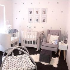 Plus (Cross) Signs Decals Twin Nursery! Metallic Silver Plus/Cross Sign decals. Gender neutral nursery design for twins. Small Twin Nursery, Twin Nursery Gender Neutral, Twin Baby Rooms, Nursery Twins, Baby Bedroom, Twin Babies, Nursery Ideas, Small Space Nursery, Twin Cribs