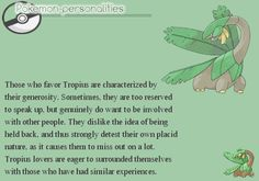 Personality traits based on your favorite Pokémon — Tropius is pretty close to me haha.