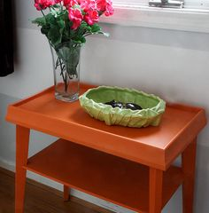 Annnie Sloan chalk paint, Barcelona orange and old white.