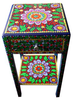 Handpainted side table round mandala square table