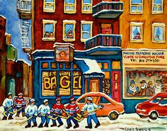 Best Sellers Original Montreal Paintings For Sale Hockey Game At St.viateur Bagel Carole Spandau by Carole Spandau Paintings For Sale, Original Paintings, 300 Piece Puzzles, Thing 1, Bachelor Of Fine Arts, Hockey Games, City Art, Beautiful Paintings, Fine Art America