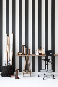 Vertigo wallpaper is a stylish black and white striped wallpaper printed on WallSmart wallpaper (non woven-fleece). It is easier and faster to hang. From the Danish company Ferm Living. Decor, Wall Decor, Interior, Striped Wallpaper, Modern Wallpaper, Ferm Living Wallpaper, Black And White Wallpaper, Feature Wall Wallpaper, Striped Walls