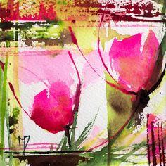 Petit instant N° 226 (Peinture),  10x10 cm par Véronique Piaser-Moyen Aquarelle originale sur papier 300G