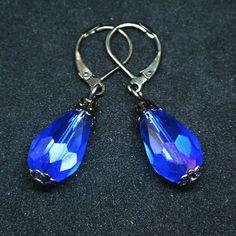 Electric Blue Glass Drop Earrings