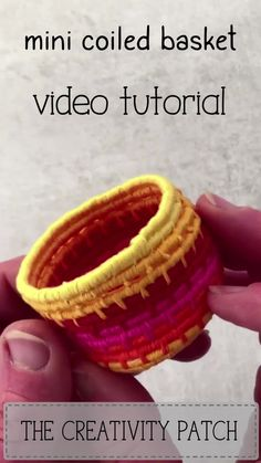 Mini Coiled Basket Tutorial - - Mini Coiled Basket Tutorial Weaving Learn to make a miniature coiled basket using embroidery floss and macrame cord. It's a free video tutorial series that guides you through every step. Embroidery Floss Crafts, Embroidery Thread, Yarn Crafts, Fabric Crafts, Basket Weaving, Hand Weaving, Fibre And Fabric, Macrame Tutorial, Tutorial Sewing