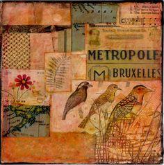 Three Birds Mixed Media on Canvas by ArtandBookShop on Etsy