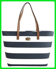 376d73240071 Michael Kors Americana Striped Saffiano Leather Travel Tote; Navy/White -  Shoulder bags (