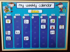 Weekly Kids Calendar, Schedule, Activity & Chore Chart (Velcro) - Regular or Personalized