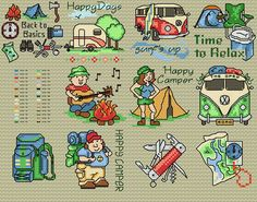 Maria Diaz Designs: Fun Camping Motifs (Cross-stitch chart)