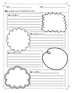 Recall information from experiences or gather information from provided sources to answer a question. Perfect Exit ticket idea with this sheet! 2nd Grade Ela, 2nd Grade Writing, Second Grade, Field Trip Report, Virtual Field Trips, Lesson Planner, Journal Template, Comprehension Activities, Travel Activities