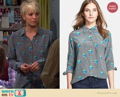 Penny's grey leaf printed long sleeved blouse on The Big Bang Theory.  Outfit Details: http://wornontv.net/38257/ #TheBigBangTheory
