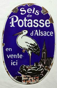 Ancienne plaque émaillée agricole SELS de POTASSE d ALSACE - engrais potassique