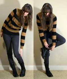 H&M Striped Sweater, Gap Black Tshirt, Forever 21 Gray Pants, Forever 21 Combat Boots