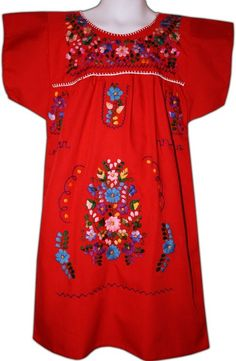 ad45db6bb9 Mexican Fiesta Embroidered Dress Red Size 2 - My Mercado Mexican Imports  Mexican Outfit