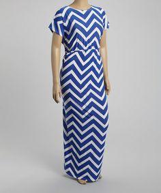 Look at this #zulilyfind! Royal Blue & White Zigzag Maxi Dress - Plus #zulilyfinds