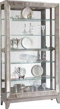 Reduce Acubens Lighted Curio Cabinet by Willa Arlo Interiors Glass Shelves Ikea, Glass Shelves Kitchen, Display Shelves, Display Cabinets, Display Cases, Wall Shelves, Shelving, Shelf, Pulaski Furniture