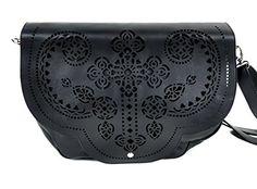 Gothic Cross Cut Out Messenger Bag Purse Satchel Faux Leather