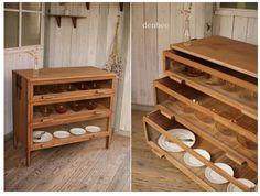 жdenbeeж古い前ガラスの木製引き出し3段/シャツケース/食器棚/収納棚/キャビネット/アンティーク_画像1
