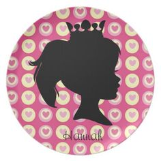 Personalized Princess Silhouette Pink Kids Plate