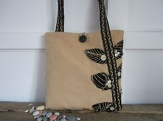 Cute tan and black tote bag Applique by BerkshireCollections, $40.00 super cute, one of kind