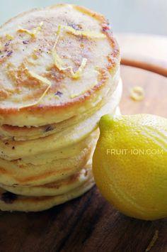 Lemon Lavender Blueberry Pancakes. Uber delicious! fruit-ion.com