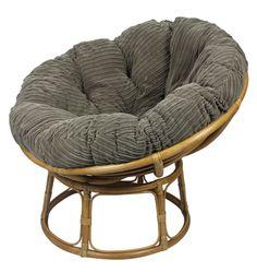 Papasan Chair Finished In A Super Soft Jumbo Cord, Coffee Coloured Papasan  Cushion.