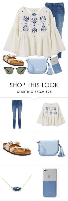 """""""blues"""" by ashton7276 ❤ liked on Polyvore featuring 3x1, MANGO, Birkenstock, Kate Spade, Kendra Scott and Ray-Ban"""