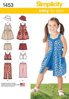 sewing for kids clothes Simplicity Pattern 3 - 4 - 5 - 6 - 7 - - Child Sportswear -Child's Dress, Top, Pants or Shorts and Hat Simplicity Pattern 1453 - sizes Child's Dress, Top, Pants or Shorts and Hat This would be so cute in an adul Childrens Sewing Patterns, Hat Patterns To Sew, Girl Dress Patterns, Simplicity Sewing Patterns, Clothing Patterns, Sew Pattern, Little Girl Dresses, Girls Dresses, Kids Sportswear