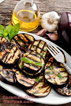 This recipe for garlic mint eggplant on your Foreman Grill is uniquely delicious and satisfying. It can be served as an excellent compliment to a main dish.