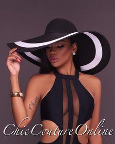 8432db027da Chic Couture Online - Selene Black Oversized Brim Straw Floppy Hat