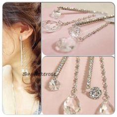 Statement Earrings NWT. Gorgeous Double Drop Earrings with glistening rhinestones. Jewelry