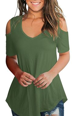 73a624847abd02 Smalnnie T Shirt Short Sleeve for Women Deep V Neck Tops Cold Shoulder  Tshirt Army Green