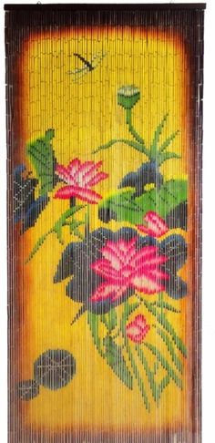 """This awesome 90 strand bamboo painted curtain shows the image on both sides! (as do the rest of our bamboo curtains)...36"""" wide, 78"""" long. Hundreds and hundreds of pieces of bamboo are hand-painted to"""