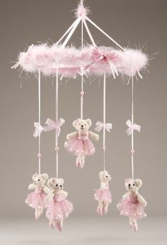 I took a pragmatic, step-by-step approach in decorating my baby girl's pink Ballerina Bear nursery theme. The first step I made was to watch DIY videos Baby Girl Nursery Themes, Bear Nursery, Baby Crib Mobile, Baby Cribs, Mobiles Art, Baby Mobiles, Ballet Nursery, Fairy Nursery, Fairy Bedroom