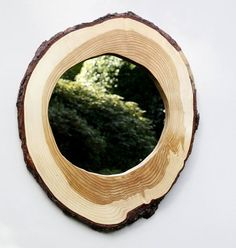 Hand Crafted Live Edge Round Log Slice Mirror by owlswhatknots, $58.00